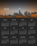 2016 year English calendar on cityscape background. 2016 year English calendar on cityscape dark background. Mondays first. Flat design imitation. Vector Royalty Free Stock Images