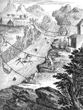 Crossing rivers in Andes South America, old print. Year 1751 engraving, usual means of transport in South America to cross rivers in Andes region with grass Royalty Free Stock Images
