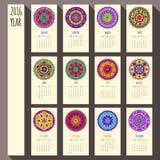 2016 year ethnic calendar design, English, Sunday. 2016 year ethnic calendar template, English, Sunday start Stock Image