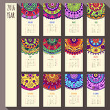 2016 year ethnic calendar design, English, Sunday. 2016 year ethnic calendar template, English, Sunday start Royalty Free Stock Photography