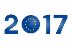 Year 2017 with Europe Flag Stock Photos