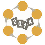 Year 2014 evolution chart. Year 2014 - illustration a evolution chart Royalty Free Stock Photo