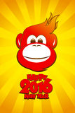 2016 year fiery monkey card, happy new year. Stock Image
