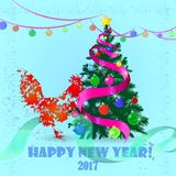 Year of fiery rooster. New Year 2017. Year of fiery cock. Image with a rooster on a light background Stock Image
