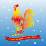 2017 - Year of fiery rooster. 2017 - Year of fiery, red rooster Royalty Free Stock Photography