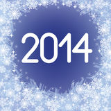 2014 year figures. With snowflakes on blue background Royalty Free Stock Images