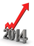 Year 2014 financial success concept. Year 2014 financial growth concept an arrow pointing up 3d illustration Stock Image