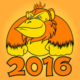 Year of fire monkey. Fire Monkey - symbol of New Year 2016 Stock Image