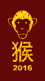2016 year fire monkeys on  Asian calendar. Happy new year. Text. In Chinese Monkey. Vector illustration of an animal Stock Images