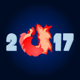 2017 the year of the fire rooster. Fiery red cock. The Chinese new year Stock Image