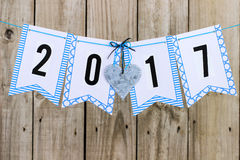 Year 2017 flag banner with tin heart Royalty Free Stock Photos