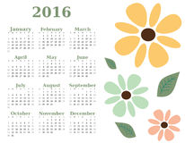 2016 year floral calendar template. week starts sunday Royalty Free Stock Photo