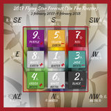 2017year flying stars vol5. Flying star forecast 2017 of fire rooster year. Chinese hieroglyphs numbers. Translation of characters-numbers. Lo shu square. Feng Royalty Free Stock Photography