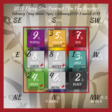 2017year flying stars vol5. Flying star forecast 2017 of fire rooster year. Chinese hieroglyphs numbers. Translation of characters-numbers. Lo shu square. Feng Stock Photos