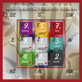 2017year flying stars vol5. Flying star forecast 2017 of fire rooster year. Chinese hieroglyphs numbers. Translation of characters-numbers. Lo shu square. Feng Stock Images