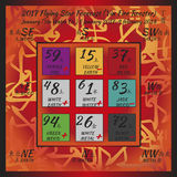 2017 year forecast. Flying star forecast 2017. Chinese hieroglyphs numbers. Translation of characters-numbers. Lo shu square. 2017 chinese feng shui calendar. 12 Royalty Free Stock Images