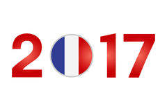 Year 2017 with France Flag. New Year 2017 with France Flag isolated on White Background - Vector Illustration Stock Images