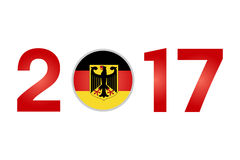 Year 2017 with Germany Flag. New Year 2017 with Germany Flag isolated on White Background - Vector Illustration Royalty Free Stock Photos