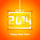 Year 2014 gift box shape with shadow effect. Card Royalty Free Stock Photography