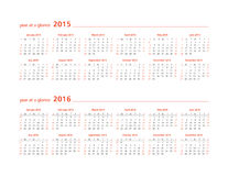 2015 and 2016 year at a glance. Year at a glance for the calendar years 2015 and 2016 Stock Photography