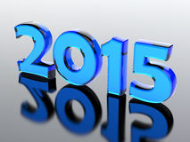 2015 year. Glass number of 2015 year.3d render illustration vector illustration
