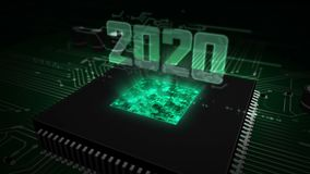 CPU on board with 2020 hologram. 2020 year glowing hologram over working cpu in background. Modern and futuristic 3D introduction stock illustration