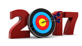 2017 year goal. Abstract 3d illustration of 2017 year sign and arrows with target Stock Photos