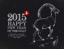 Year of the Goat 2015 chalkboard vintage card. Chinese New Year of the Goat 2015 blackboard vintage style and hand drawn animal composition. EPS10 vector file stock illustration