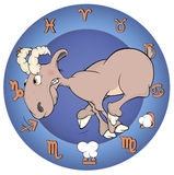 The year of the goat. Chinese horoscope cartoon Stock Photography