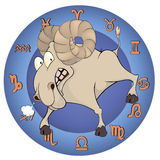 The year of the goat. Chinese horoscope cartoon Royalty Free Stock Images