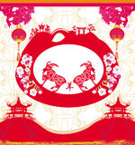 2015 year of the goat, Chinese Mid Autumn festival. Vector illustration Stock Photography