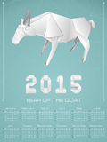 2015 year of the goat geometric origami calendar. Chinese New Year of the Goat 2015 origami geometric shape in triangle background Stock Photos