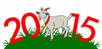2015 Year Of The Goat in the grass - Stock Illustration. 2015 Year Of The Goat - Stock Illustration Stock Photo