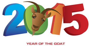 2015 Year of the Goat Numerals. 2015 Chinese New Year of the Goat Colorful Numbers Isolated on White Background with Text Royalty Free Stock Image