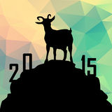 2015 year of the goat, polygon, greeting card. 2015 year of the goat, greeting card with polygonal background,  illustration Royalty Free Stock Images