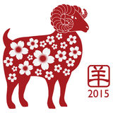 2015 Year of the Goat Silhouette with Flower Patte. 2015 Chinese New Year of the Ram Red Silhouette Isolated on White Background with Chinese Text Symbol of Goat Royalty Free Stock Photo