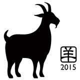 2015 Year of the Goat Silhouette isolated on white background. 2015 Chinese New Year of the Goat Black Silhouette Isolated on White Background with Chinese Text Stock Images