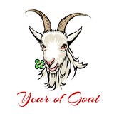 Year of goat. Vector illustration of a goat 2015 drawn in hand made style Stock Image