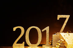The year 2017 in gold near box Stock Image