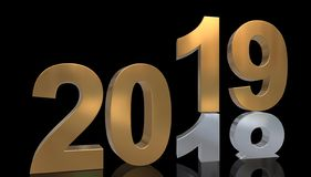 The year 2019 in gold is on the number 2018 in silver Stock Photos