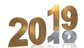 The year 2019 in gold stands on the number 2018 in silver Stock Images