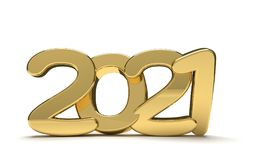 Year 2021 golden bold 3d render isolated. Design Royalty Free Stock Photo