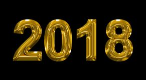 Year 2018 golden 3d numbers isolated on black. 3d rendering Royalty Free Stock Photography
