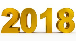 Year 2018 golden 3d numbers isolated on white. 3d rendering Stock Photography