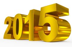 Year 2015. Golden 3d numbers  on white Stock Photos