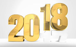 2018 year golden 3d render symbol. For sylvester 2018 Royalty Free Stock Image