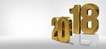 2018 year golden 3d render symbol. For sylvester 2018 Stock Image