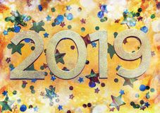 2019 design on gold textured background with foil stars. Year golden design 2019 on gold textured background with foil stars, confetti and bokeh royalty free illustration