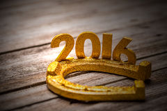 2016 year golden figures with horseshoe Stock Photo