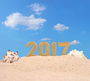 2017 year golden figures with seashells Royalty Free Stock Photo